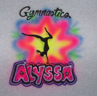 AIRBRUSHED GYMNASTICS T SHIRT PERSONALIZED WITH ANY NAME ALL SIZES
