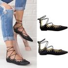 Womens Ladies flat lace up rivet trims black pointed toe zip summer sandals size