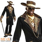 Supa Mac Daddy Leopard Pimp Mens 1970s Fancy Dress Party 70s Adult Costume + Hat