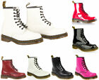 WOMENS DR MARTENS 8 EYE 1460 PATENT LEATHER ANKLE LACE UP SHOES BOOTS SIZE