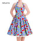 HELL BUNNY Gingham 50s Dress AUGUST Pin Up Cherry Blue White All Sizes