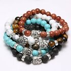 Handmade Men Women Lava Rock Bracelet Natural Gemstone Beads Buddha Head Beaded