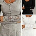 Hot Sale Sexy Long Sleeve Shirt Casual Lace Blouse Loose Cotton Top Shirt  LCF