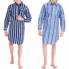 Mens Stripe Flannel Traditional Night Shirt Button Lounge Wear Pyjamas PJ Cotton