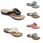 LADIES WOMENS FLOWER SUMMER SANDALS CASUAL WEDGE COMFORT TOE POST FASHION SHOES