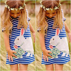Cute Rabbit Kids Baby Girls Navy Striped Cartoon Summer Dress Outfits 2-7Y TY