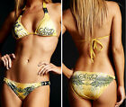 Sinful - REVERE - Women's Swimwear Bikini with rhinestones - NEW - Yellow