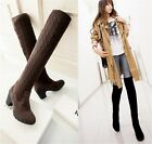 Womens Ladies Knitted Cuffed Mid Heel Over The Knee Boots Shoes Plus Size