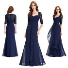 Sexy Ladies Navy Blue Sleeved Long Prom Evening Dress Bridesmaid Party Size 4-18