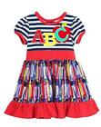 New Girls Rare Editions sz 4-6x Navy Red ABC Apple CRAYONS Dress School Clothes