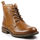 Report Men's Lace Up Wing Tip Perforated Work Dress Fashion Ankle Boots Willie