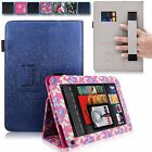 For Amazon Kindle Fire 7 Inch PU Leather Card Slot Stand Case Cover w Hand Strap