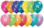 "21st Birthday Party Balloons 11"" {Qualatex} Pack of 6 (Helium Quality/Age 21)"