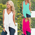 Fashion Sexy Womens Sleeveless V-Neck T Shirt Irregular Tank Tops Blouse Vest AS
