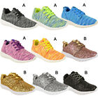 Womens Ladies Lace Up Flat Glitter Skater Style Pumps Gym Trainers Casual Size