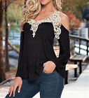 S-5XL Fashion Womens Loose T-Shirt Casual Long Sleeve Lace Blouses Tee Tops PLUS