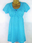 Turquoise Spot Long Tunic Top Blouse with White Cropped Leggings  6 8 10 12
