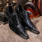 NEW Mens metal pointed toe slip on genuine leather formal dress crocodile shoes
