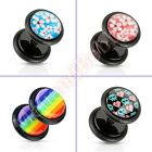 16G 6mm Fake Cheater Ear Plug Body Piercing Jewellery CHOOSE SINGLE OR PAIR