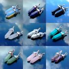 5 X Natural Gemstone Hexagonal Point Reiki Chakra Healing Pendant For Necklace