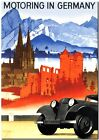 "Cool Retro Travel Poster CANVAS ART PRINT ~ Germany Motoring 32""x24"""