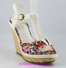 White Multi Color Floral Print So Cute T Strap Espadrilles Wedges Sandals
