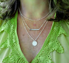 Multi 3 Layer Necklace Dew Drop Disc Bar Name Initial Charm Handmade Stamped