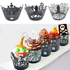 Black Halloween Cupcake Wrappers Decorations Bat Cobweb Spider Haunted House New