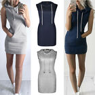 UK Womens Slim Bodycon Clubwear Bandage Mini Dress Ladies Hoodie Tops Size 6-12