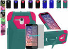 Tempered Glass+2Layer Tough Case Cover w/T-Stand Alcatel OneTouch Fierce XL 5054