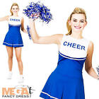 Blue & White Cheerleader Ladies Fancy Dress Sports Womens Uniform Adult Costume