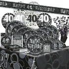 40/40th BIRTHDAY BLACK/SILVER GLITZ Party Range (Birthday/Plates/Napkins/Banner)