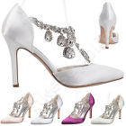 NEW women pointed toe elegance stain heel pumps lady ankle crystal wedding shoes