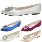 2016 New Women Flat Wedding Shoes Bride Jeweled Rhinestone Satin Silk Flat Pumps