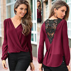 Womens Summer Sexy V Neck Lace Chiffon Long Sleeve T-Shirt Blouse Casual Tops