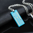 AgentX Mens Rectangle Cross&Prayer Printed Dog Tag Pendant Faith Necklace Chains