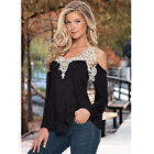 Sexy T-Shirt Summer Women Loose Casual Long Sleeve Sexy Lace Soft Blouse Tops