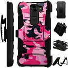 For LG /HTC Rugged Cover Holster Hybrid Case PINK BLACK CAMO CAMOUFLAGE LuxGuard