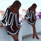 Summer Boho Women Off Shoulder Printed Long Sleeve Casual Party Beach Mini Dress