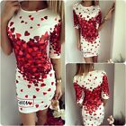 Women White Red Love Heart Dress Long Sleeve Cocktail Short/Mini Dress Evening