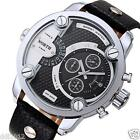 NORTH MENS Stainless Steel Date Quartz Analog Leather Band Dial Wrist Watch NEW