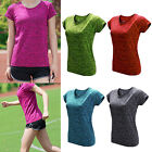 Gym Running Yoga T-shirt Womens Fitness Short Sleeve Active Sports Top Blouse AS
