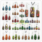 YD1034 Mixed Color Sea Sediment Jasper & Pyrite Oblong Necklace & Earrings Set