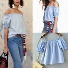 Sexy Off Shoulder Spaghetti Strap Lantern Sleeve Pullover T-Shirt Blouse Tops AS