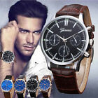 Geneva Mens Watch Retro Stainless Steel Leather Analog Alloy Quartz Wrist Watch