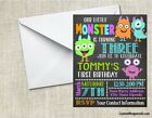 Monsters Chalkboard Birthday Party Invitations Personalized Custom