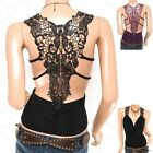 Stunning Ruching Floral Applique Embroidery Back Tank Top