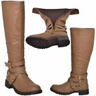 Womens Block Heel Knee High Riding Boots w/ Strappy Buckle Camel Size 5.5-10
