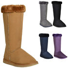 Womens Pull On Mid Calf Boots w/ Faux Fur Collar Trim Blue Size 6-10