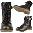Womens Lace Up Combat Ankle Boots w/ Buckle Strap Brown Size 5.5-10